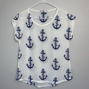 Navy and white Anchor top by Blu Planet